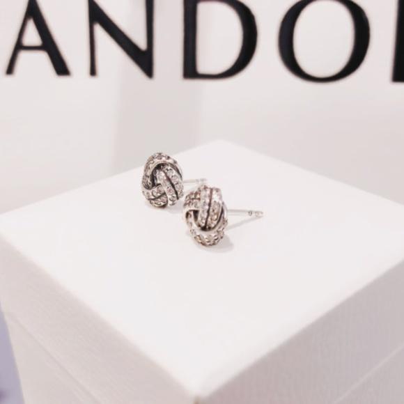 1567e0d7f Pandora Jewelry | Sparkling Love Knots Stud Earrings Clear Cz | Poshmark